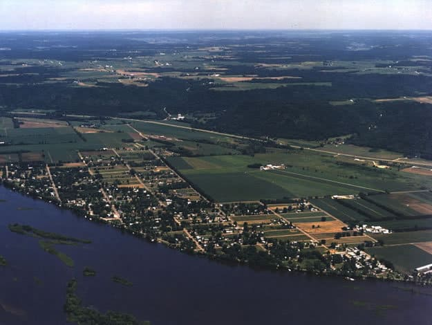 Aerial View of the City Of Buffalo City, Wisconsin